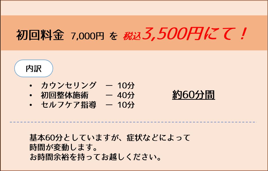 初回料金7,000円を3,500円で!
